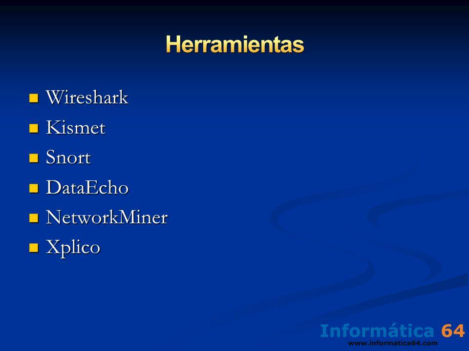 Wireshark Wireshark Kismet Kismet Snort Snort DataEcho DataEcho NetworkMiner NetworkMiner Xplico Xplico