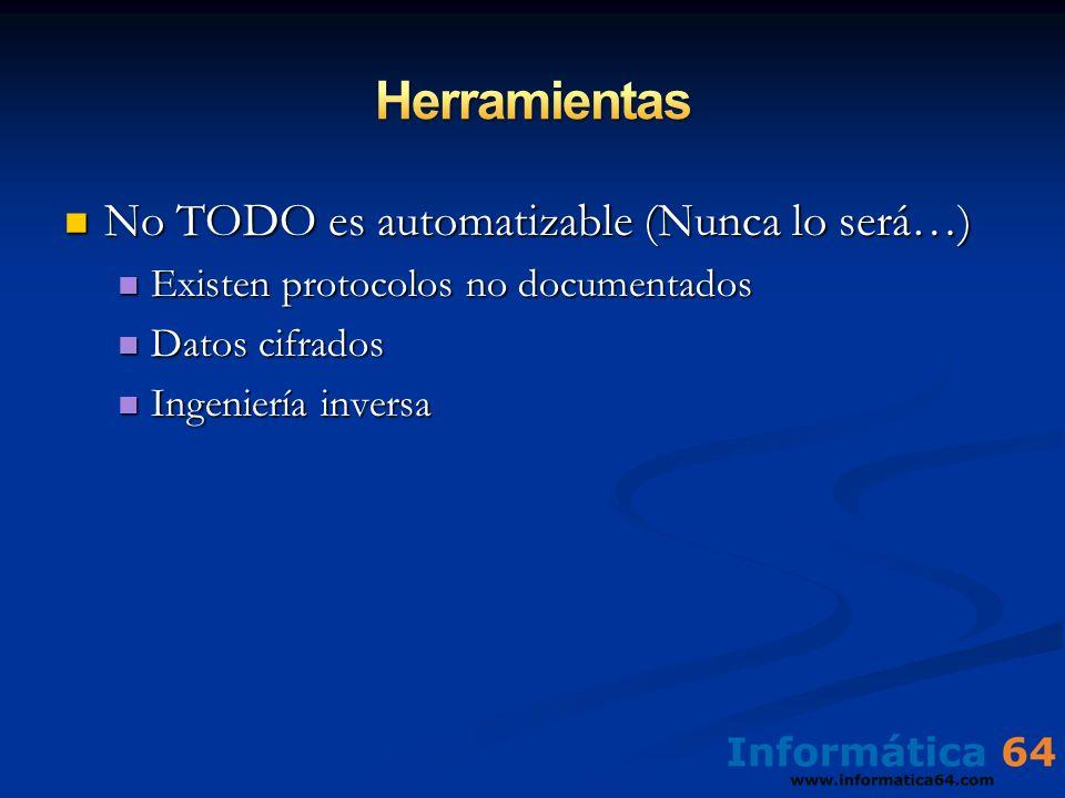 No TODO es automatizable (Nunca lo será…) No TODO es automatizable (Nunca lo será…) Existen protocolos no documentados Existen protocolos no documenta