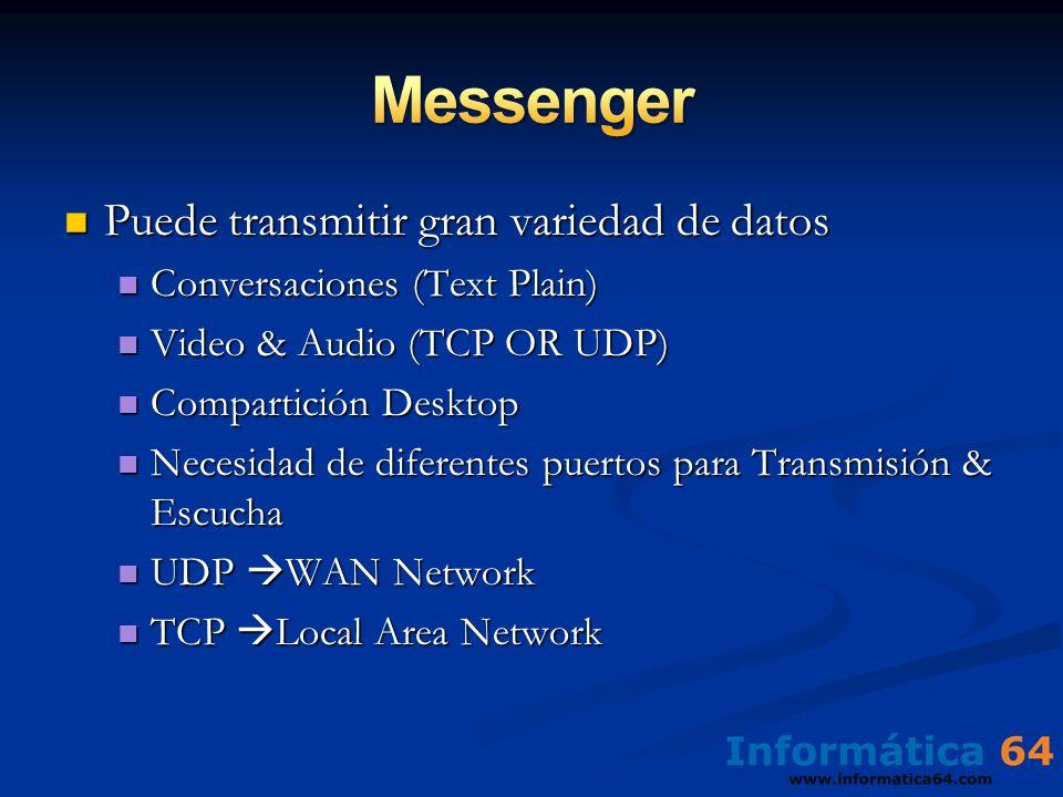 Puede transmitir gran variedad de datos Puede transmitir gran variedad de datos Conversaciones (Text Plain) Conversaciones (Text Plain) Video & Audio