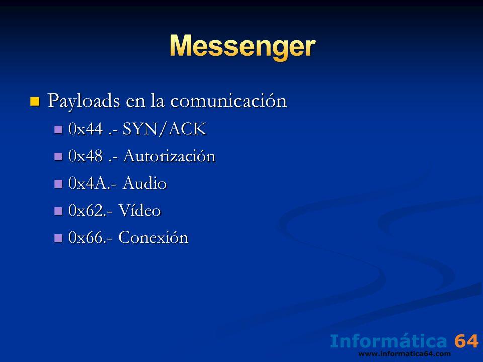 Payloads en la comunicación Payloads en la comunicación 0x44.- SYN/ACK 0x44.- SYN/ACK 0x48.- Autorización 0x48.- Autorización 0x4A.- Audio 0x4A.- Audi