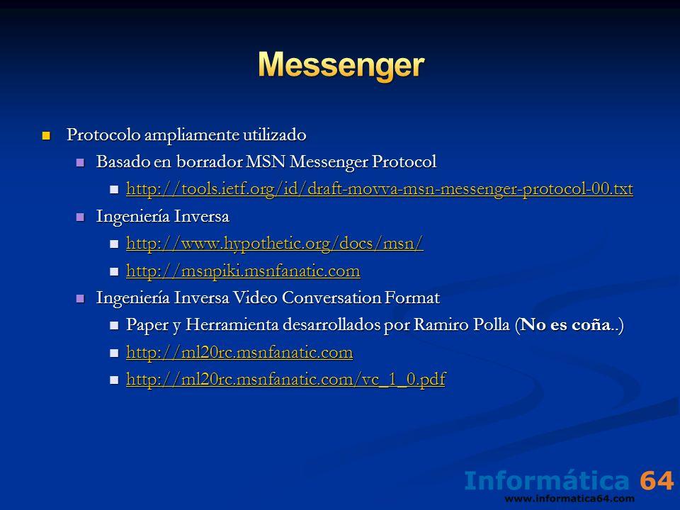 Protocolo ampliamente utilizado Protocolo ampliamente utilizado Basado en borrador MSN Messenger Protocol Basado en borrador MSN Messenger Protocol ht