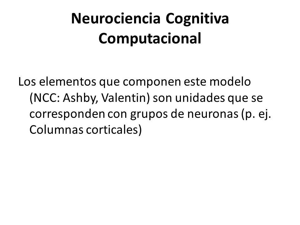 Neurociencia Cognitiva Computacional Los elementos que componen este modelo (NCC: Ashby, Valentin) son unidades que se corresponden con grupos de neur