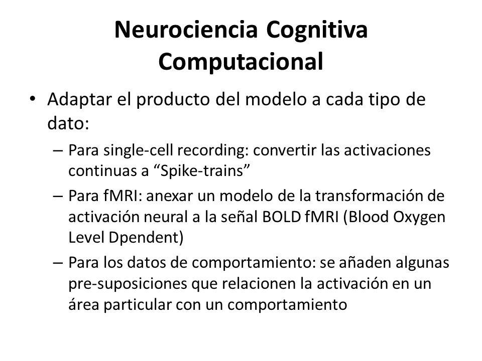 Neurociencia Cognitiva Computacional Adaptar el producto del modelo a cada tipo de dato: – Para single-cell recording: convertir las activaciones cont