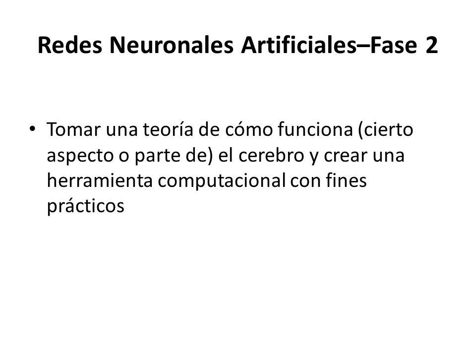Redes Neuronales Artificiales–Fase 2 Tomar una teoría de cómo funciona (cierto aspecto o parte de) el cerebro y crear una herramienta computacional co