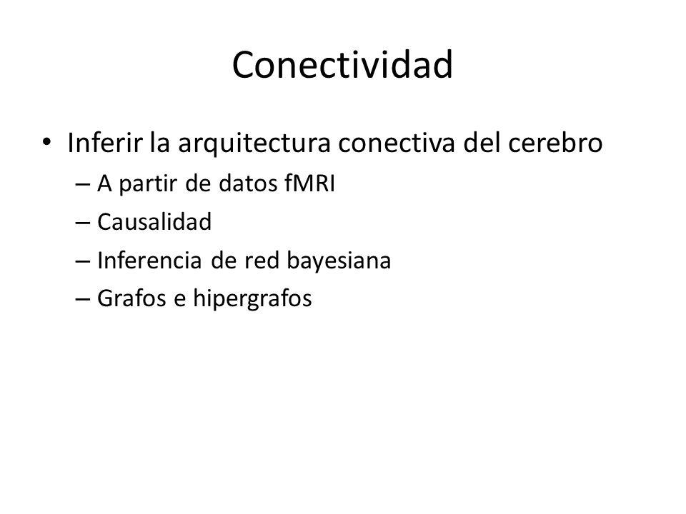 Conectividad Inferir la arquitectura conectiva del cerebro – A partir de datos fMRI – Causalidad – Inferencia de red bayesiana – Grafos e hipergrafos