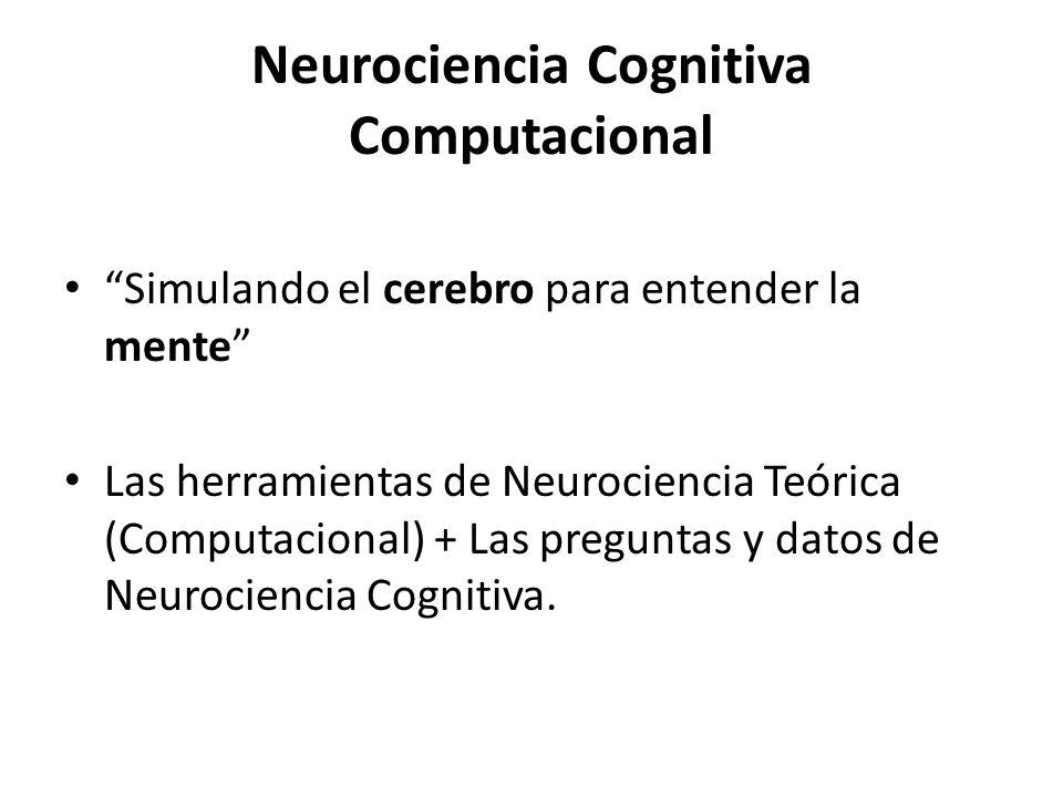 Neurociencia Cognitiva Computacional Simulando el cerebro para entender la mente Las herramientas de Neurociencia Teórica (Computacional) + Las pregun