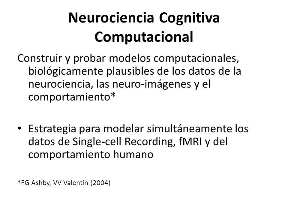 Neurociencia Cognitiva Computacional Las unidades de los modelos conexionistas (clásicos) sólo tienen similitud superficial con neuronas reales – Son genéricas – Describen el comportamiento humano pero no modelan datos de neurociencia Los modelos de la neurociencia computacional son altamente complejos – Hasta cientos de ecuaciones diferenciales para modelar una sola neurona – Esta complejidad es demasiado alta para modelar el comportamiento humano