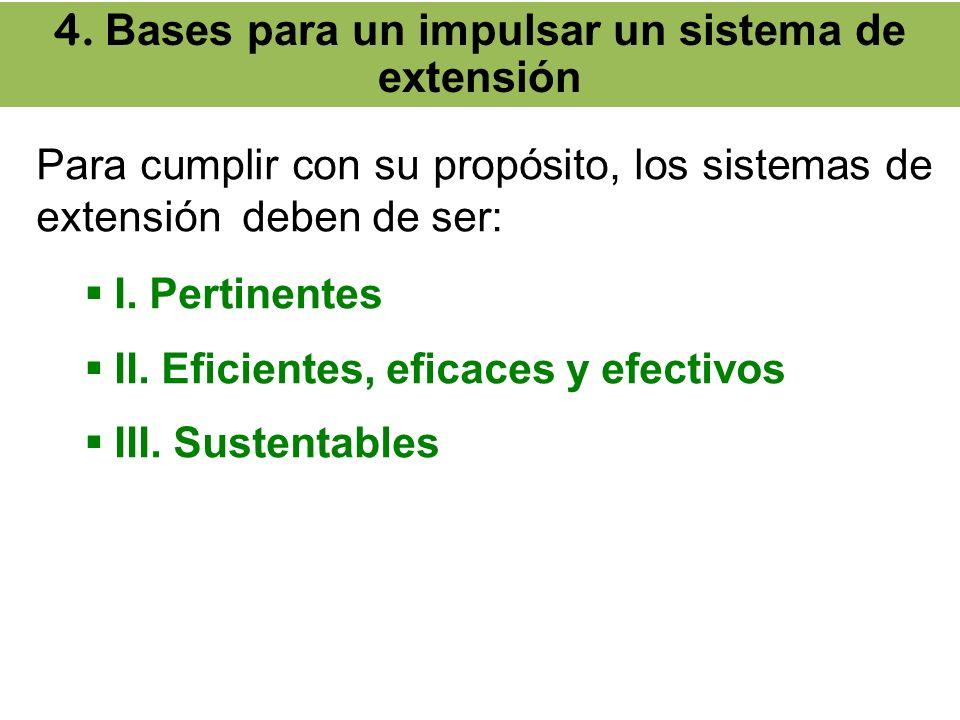 Para cumplir con su propósito, los sistemas de extensión deben de ser: I. Pertinentes II. Eficientes, eficaces y efectivos III. Sustentables 4. Bases