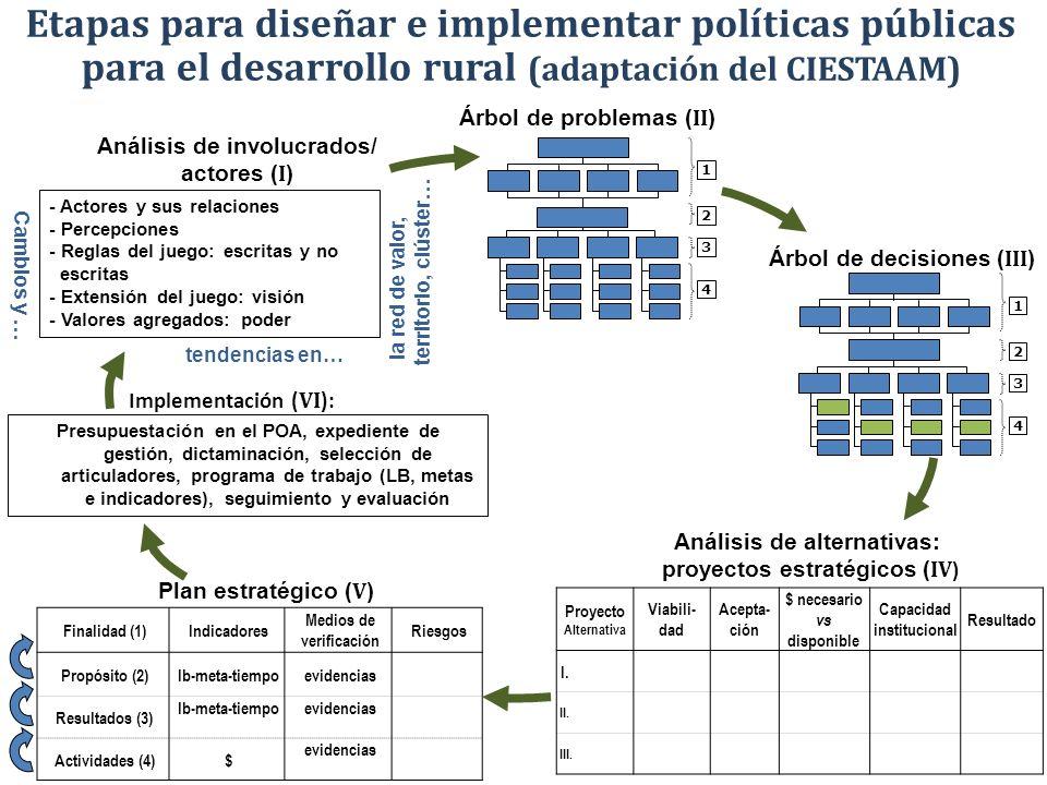 Etapas para diseñar e implementar políticas públicas para el desarrollo rural (adaptación del CIESTAAM) 1 2 3 4 Árbol de decisiones ( III ) 1 2 3 4 Pr
