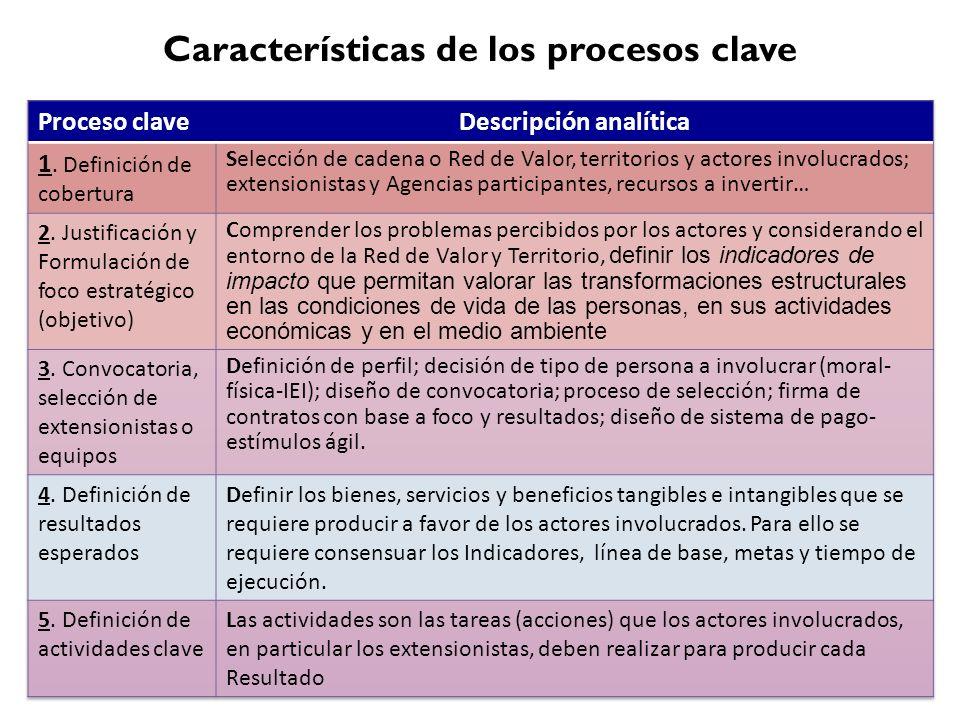Características de los procesos clave