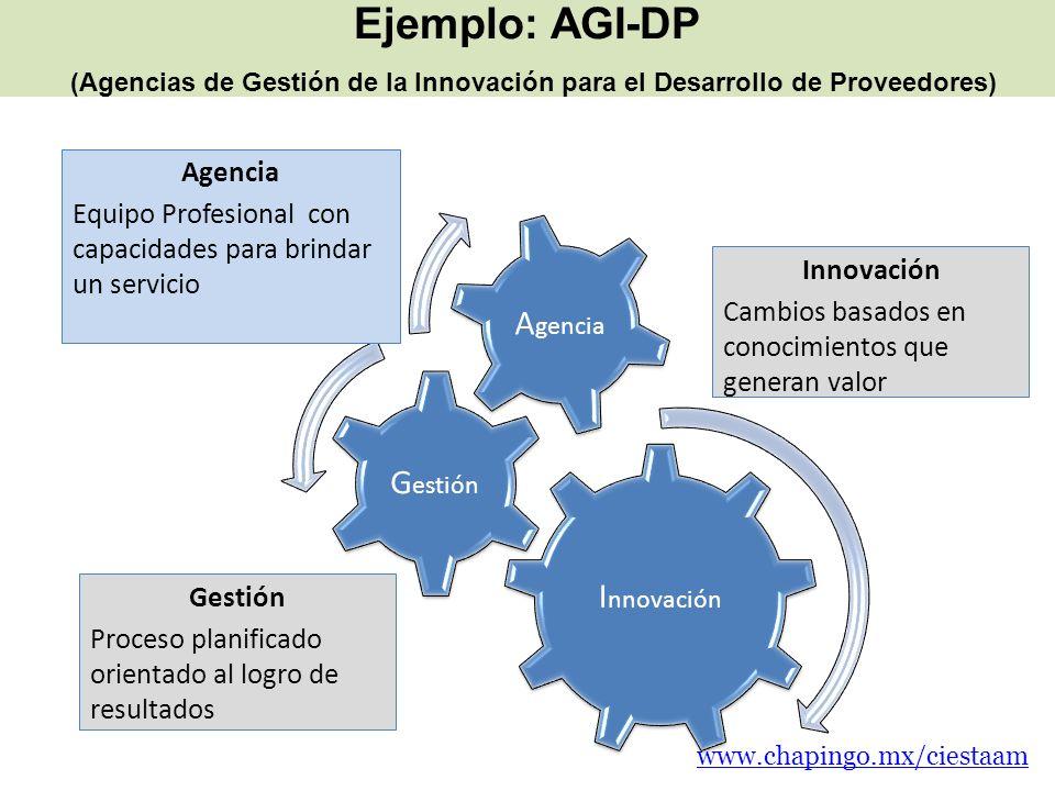Ejemplo: AGI-DP (Agencias de Gestión de la Innovación para el Desarrollo de Proveedores) I nnovación G estión A gencia Equipo Profesional con capacida