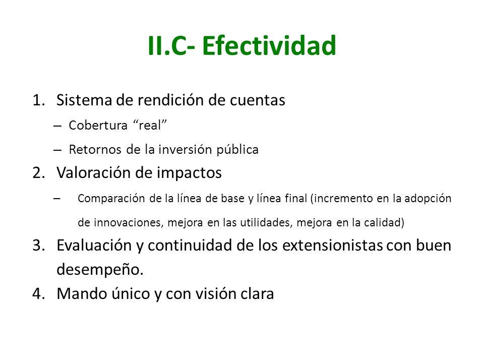II.C- Efectividad 1.Sistema de rendición de cuentas – Cobertura real – Retornos de la inversión pública 2.Valoración de impactos – Comparación de la l