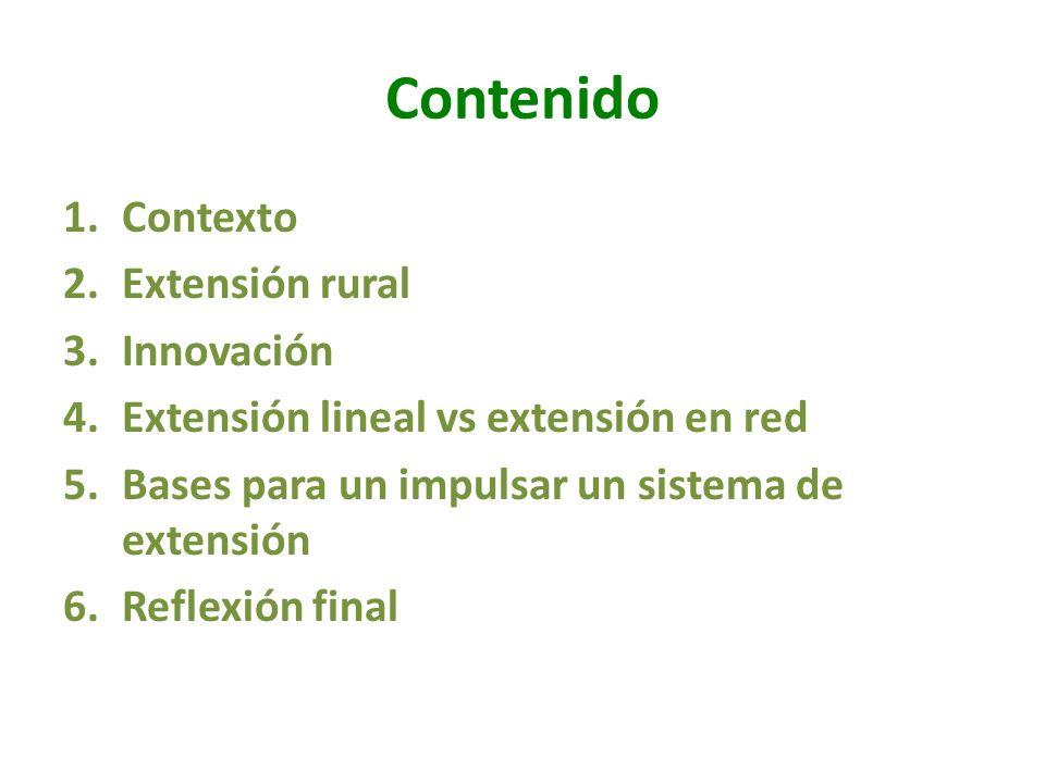 Contenido 1.Contexto 2.Extensión rural 3.Innovación 4.Extensión lineal vs extensión en red 5.Bases para un impulsar un sistema de extensión 6.Reflexió