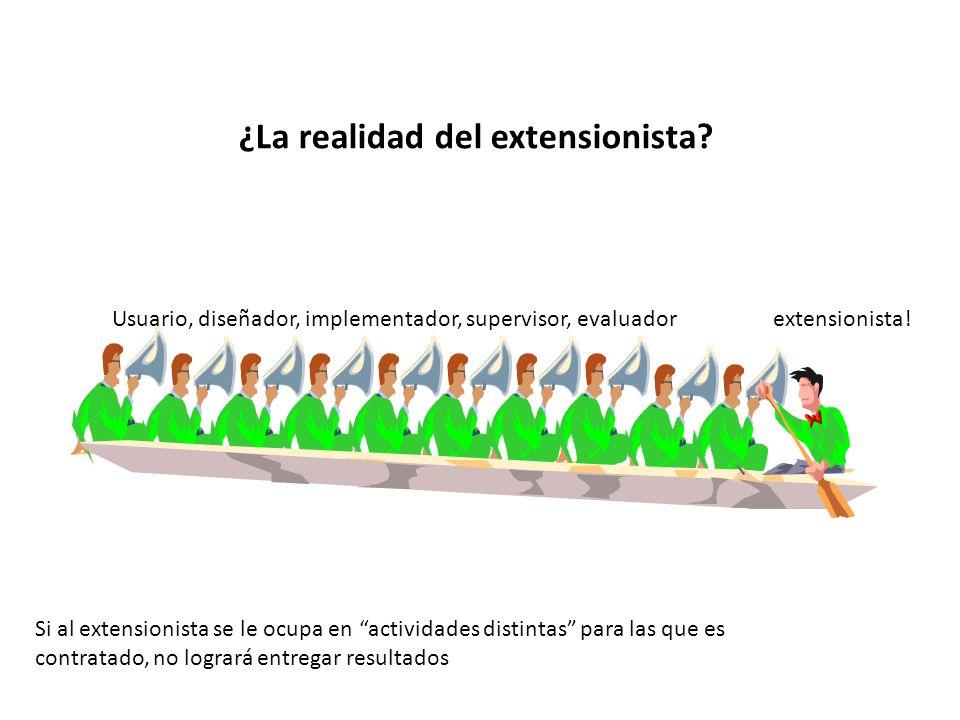 ¿La realidad del extensionista? Usuario, diseñador, implementador, supervisor, evaluador extensionista! Si al extensionista se le ocupa en actividades