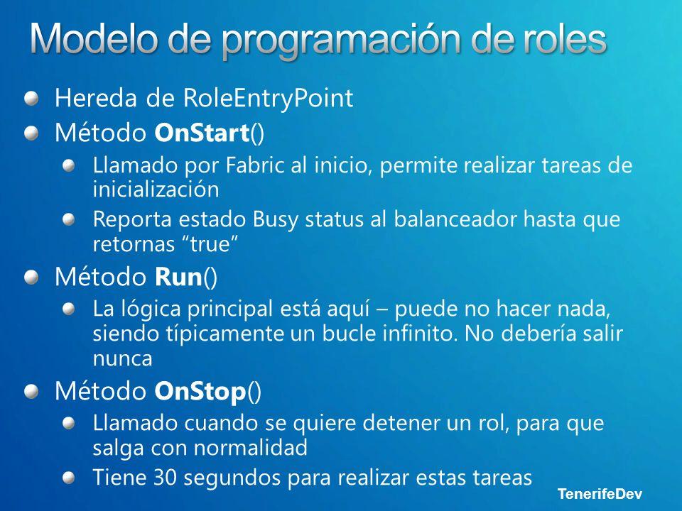 Hereda de RoleEntryPoint Método OnStart() Llamado por Fabric al inicio, permite realizar tareas de inicialización Reporta estado Busy status al balanceador hasta que retornas true Método Run() La lógica principal está aquí – puede no hacer nada, siendo típicamente un bucle infinito.