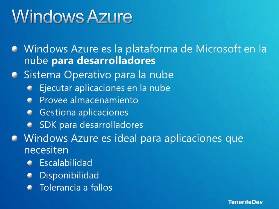 TenerifeDev Windows Azure es la plataforma de Microsoft en la nube para desarrolladores Sistema Operativo para la nube Ejecutar aplicaciones en la nube Provee almacenamiento Gestiona aplicaciones SDK para desarrolladores Windows Azure es ideal para aplicaciones que necesiten Escalabilidad Disponibilidad Tolerancia a fallos