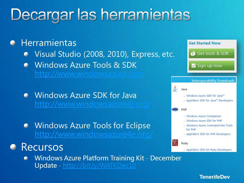 TenerifeDev Visual Studio 2008Visual Studio 2008 Visual Studio 2010Visual Studio 2010 Plantillas de proyectoPlantillas de proyecto Modelado y configuraciónModelado y configuración Package & 1 Click DeployPackage & 1 Click Deploy Soporte de depuraciónSoporte de depuración Storage ExplorerStorage Explorer Server ExplorerServer Explorer Soporte IntelliTraceSoporte IntelliTrace Windows Server 2008 o Windows 7Windows Server 2008 o Windows 7 SQL Express 2005+SQL Express 2005+.NET 3.5 SP1+.NET 3.5 SP1+ Development FabricDevelopment Fabric Development StorageDevelopment Storage.NET APIs.NET APIs