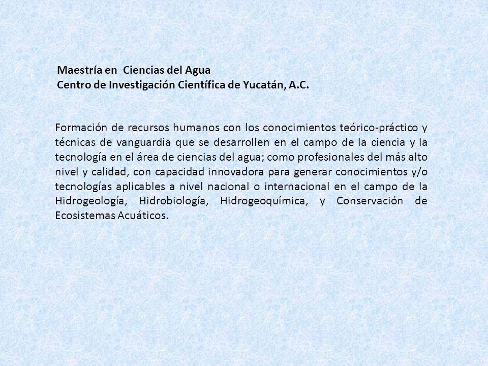 Maestría en Ciencias del Agua Centro de Investigación Científica de Yucatán, A.C. Formación de recursos humanos con los conocimientos teóricopráctico
