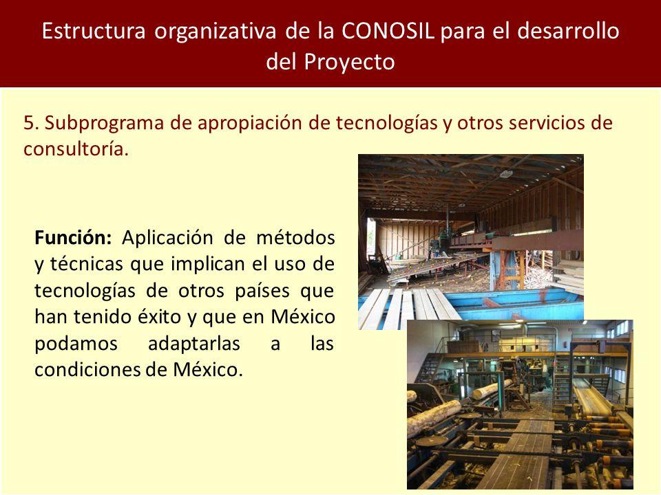 Estructura organizativa de la CONOSIL para el desarrollo del Proyecto 5.