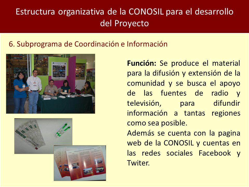 Estructura organizativa de la CONOSIL para el desarrollo del Proyecto 6.