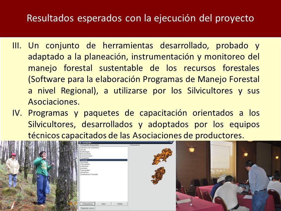 Resultados esperados con la ejecución del proyecto III.Un conjunto de herramientas desarrollado, probado y adaptado a la planeación, instrumentación y monitoreo del manejo forestal sustentable de los recursos forestales (Software para la elaboración Programas de Manejo Forestal a nivel Regional), a utilizarse por los Silvicultores y sus Asociaciones.