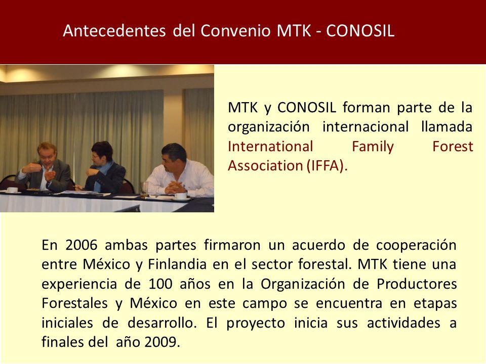 Antecedentes del Convenio MTK - CONOSIL MTK y CONOSIL forman parte de la organización internacional llamada International Family Forest Association (IFFA).