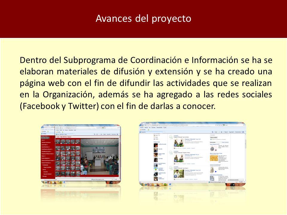 Avances del proyecto Dentro del Subprograma de Coordinación e Información se ha se elaboran materiales de difusión y extensión y se ha creado una página web con el fin de difundir las actividades que se realizan en la Organización, además se ha agregado a las redes sociales (Facebook y Twitter) con el fin de darlas a conocer.
