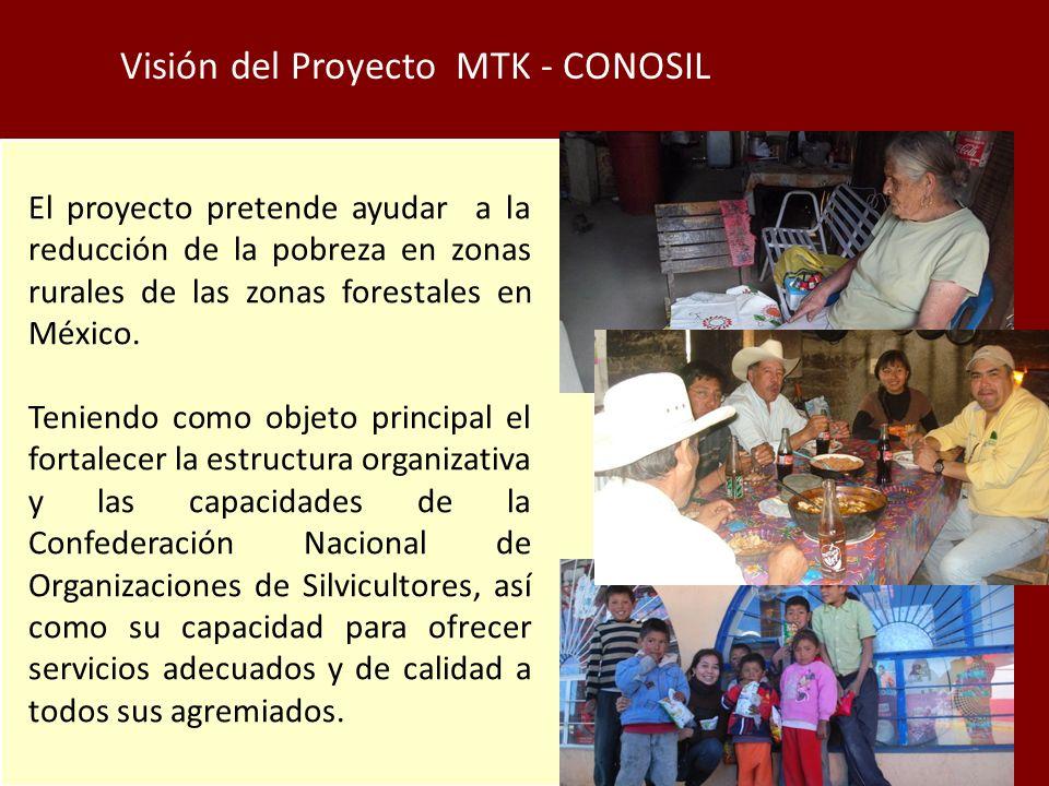 Visión del Proyecto MTK - CONOSIL El proyecto pretende ayudar a la reducción de la pobreza en zonas rurales de las zonas forestales en México.