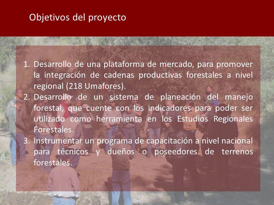 Objetivos del proyecto 1.Desarrollo de una plataforma de mercado, para promover la integración de cadenas productivas forestales a nivel regional (218 Umafores).