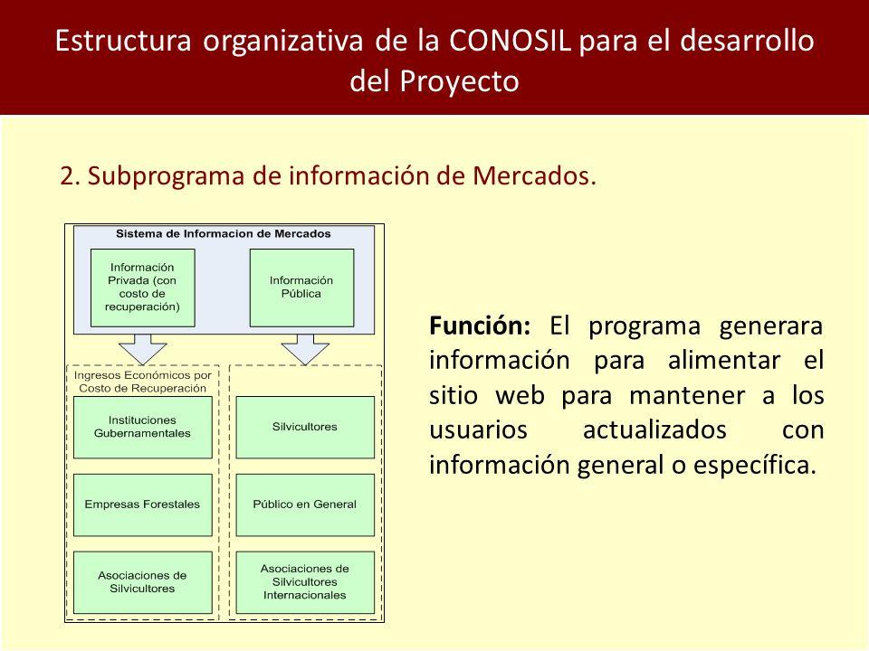 Estructura organizativa de la CONOSIL para el desarrollo del Proyecto 2.