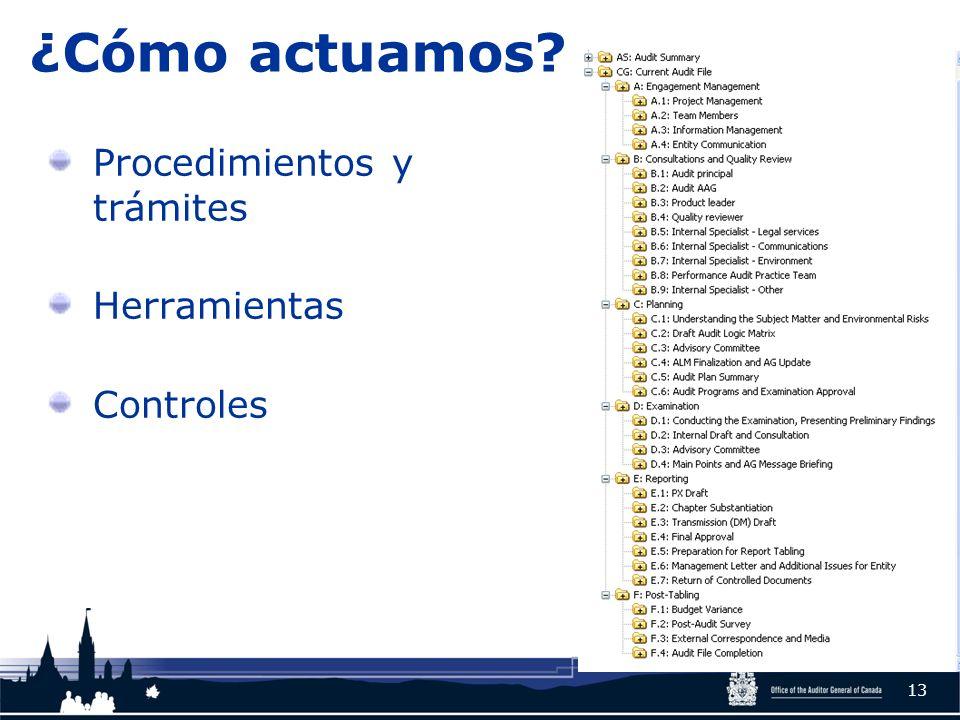 ¿Cómo actuamos? Procedimientos y trámites Herramientas Controles 13