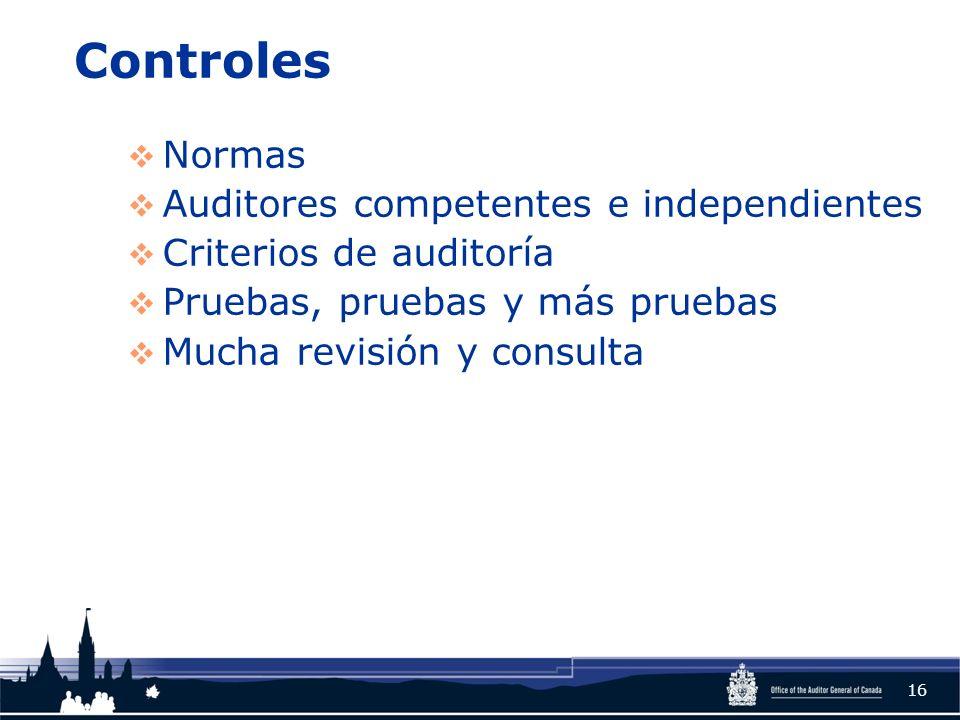Controles Normas Auditores competentes e independientes Criterios de auditoría Pruebas, pruebas y más pruebas Mucha revisión y consulta 16