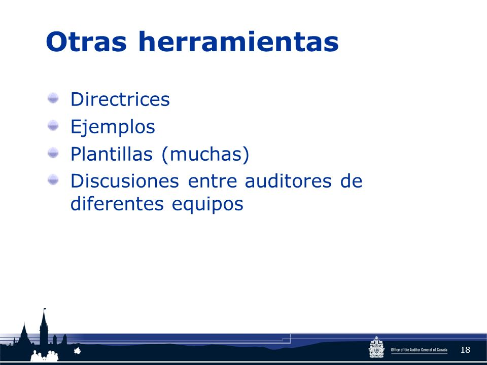 Otras herramientas Directrices Ejemplos Plantillas (muchas) Discusiones entre auditores de diferentes equipos 18