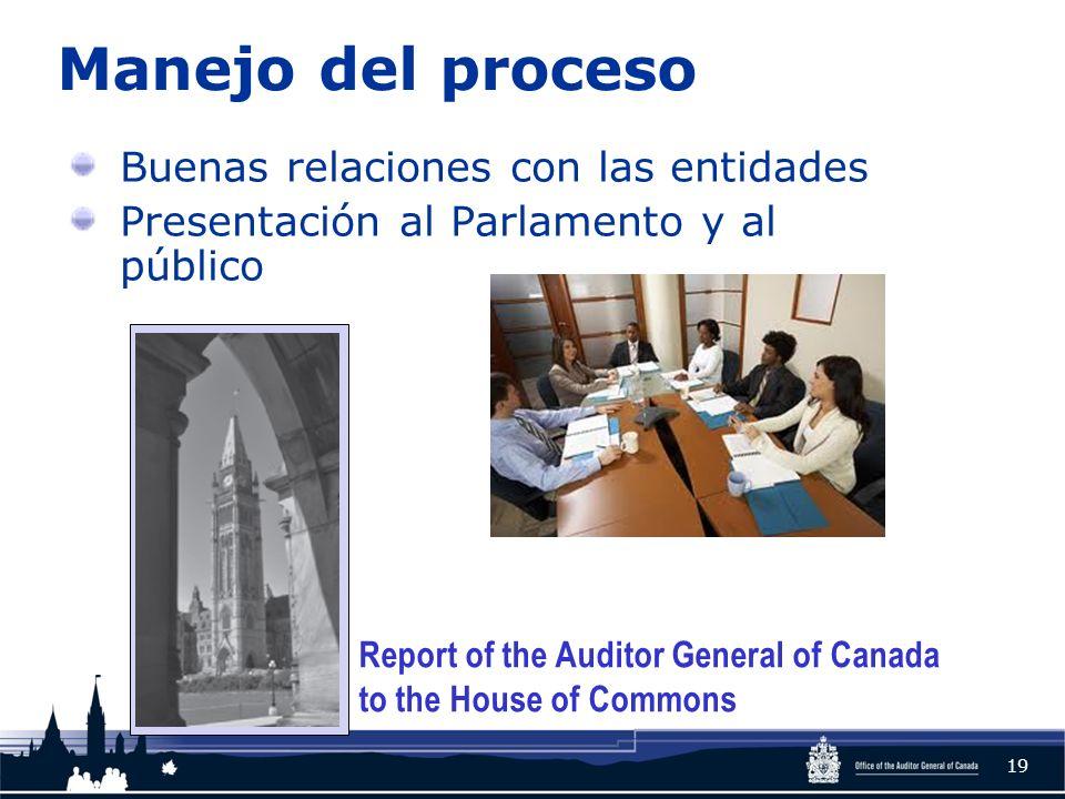Manejo del proceso Buenas relaciones con las entidades Presentación al Parlamento y al público 19 Report of the Auditor General of Canada to the House of Commons