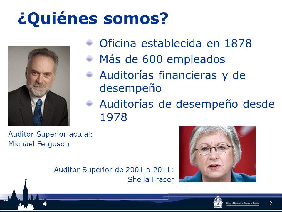 ¿Quiénes somos? Oficina establecida en 1878 Más de 600 empleados Auditorías financieras y de desempeño Auditorías de desempeño desde 1978 2 Auditor Su