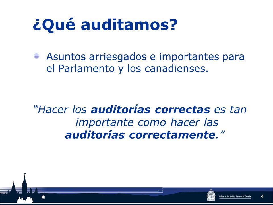 ¿Qué auditamos? Asuntos arriesgados e importantes para el Parlamento y los canadienses. Hacer los auditorías correctas es tan importante como hacer la