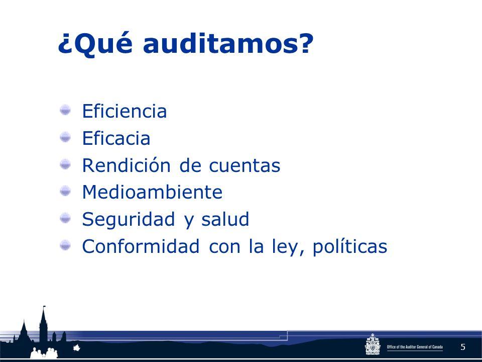 ¿Qué auditamos? Eficiencia Eficacia Rendición de cuentas Medioambiente Seguridad y salud Conformidad con la ley, políticas 5
