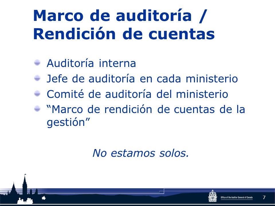 Marco de auditoría / Rendición de cuentas Auditoría interna Jefe de auditoría en cada ministerio Comité de auditoría del ministerio Marco de rendición de cuentas de la gestión No estamos solos.