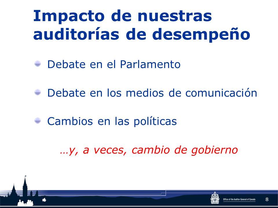 Impacto de nuestras auditorías de desempeño Debate en el Parlamento Debate en los medios de comunicación Cambios en las políticas …y, a veces, cambio de gobierno 8
