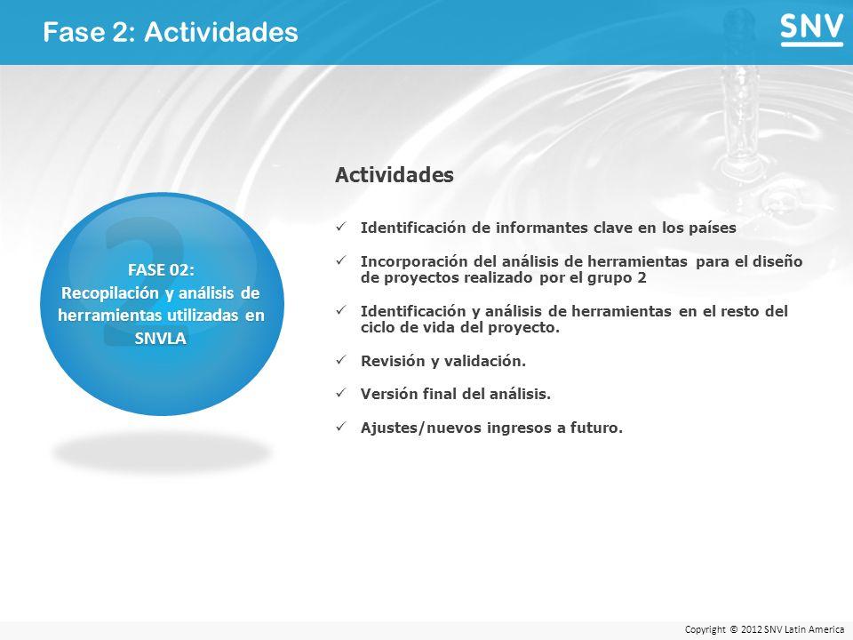 Copyright © 2012 SNV Latin America Fase 2: Actividades 2 FASE 02: Recopilación y análisis de herramientas utilizadas en SNVLA Actividades Identificación de informantes clave en los países Incorporación del análisis de herramientas para el diseño de proyectos realizado por el grupo 2 Identificación y análisis de herramientas en el resto del ciclo de vida del proyecto.