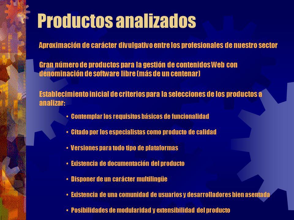 Productos analizados Aproximación de carácter divulgativo entre los profesionales de nuestro sector Gran número de productos para la gestión de conten