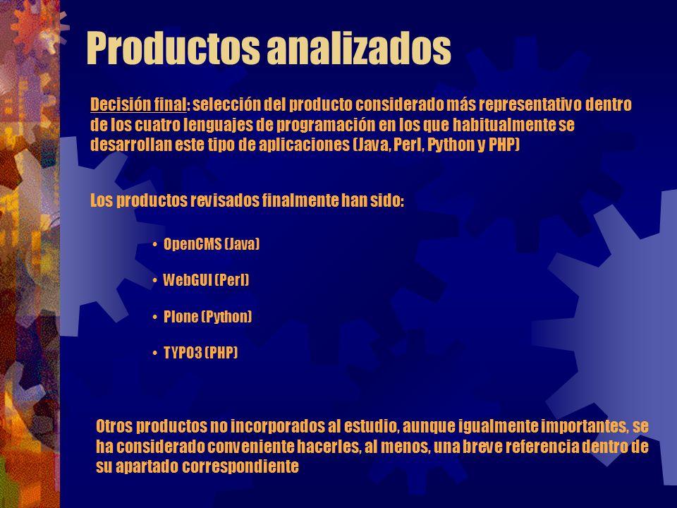 Productos analizados Decisión final: selección del producto considerado más representativo dentro de los cuatro lenguajes de programación en los que h