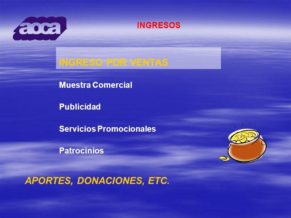 INGRESOS INGRESO POR VENTAS Muestra Comercial Publicidad Servicios Promocionales Patrocinios APORTES, DONACIONES, ETC.