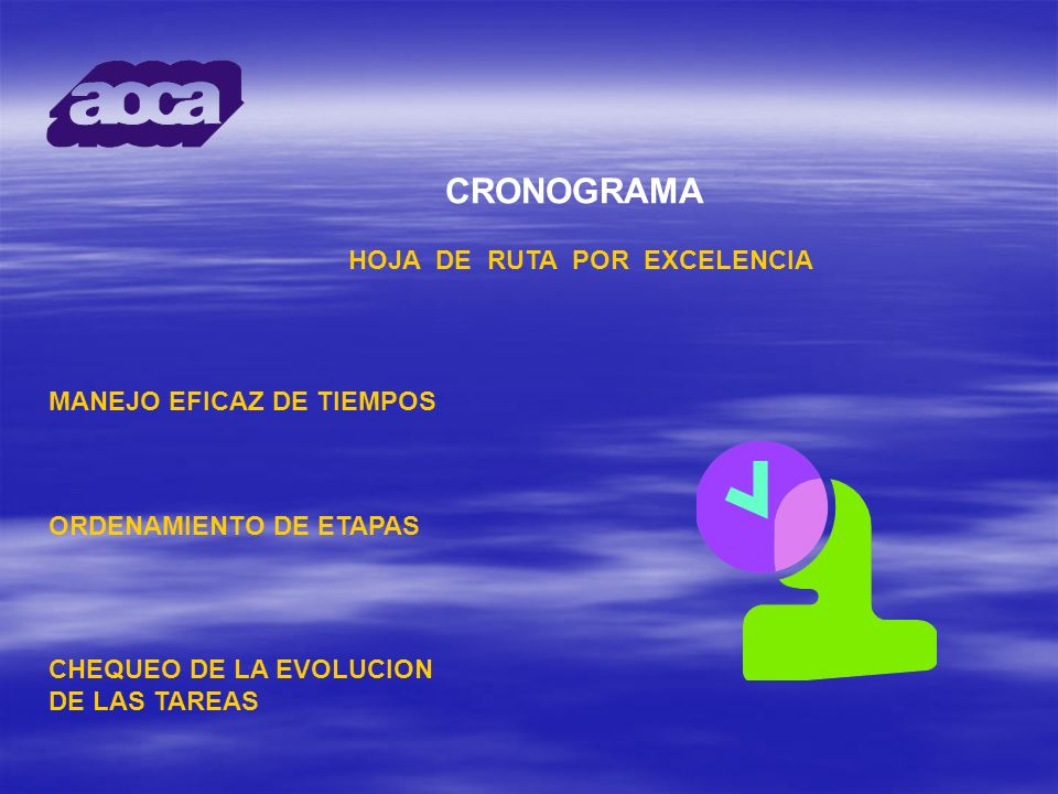 CRONOGRAMA HOJA DE RUTA POR EXCELENCIA MANEJO EFICAZ DE TIEMPOS ORDENAMIENTO DE ETAPAS CHEQUEO DE LA EVOLUCION DE LAS TAREAS