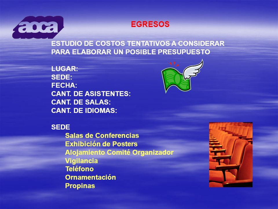 ESTUDIO DE COSTOS TENTATIVOS A CONSIDERAR PARA ELABORAR UN POSIBLE PRESUPUESTO LUGAR: SEDE: FECHA: CANT. DE ASISTENTES: CANT. DE SALAS: CANT. DE IDIOM