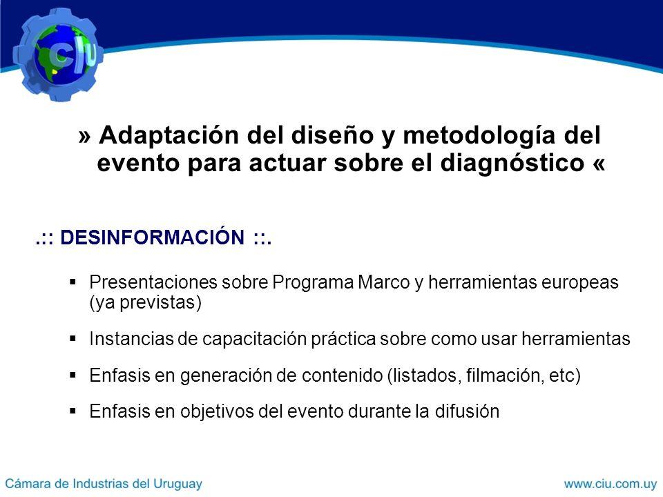 » Adaptación del diseño y metodología del evento para actuar sobre el diagnóstico «.:: DESINFORMACIÓN ::.