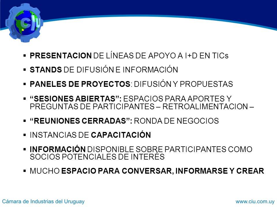 PRESENTACION DE LÍNEAS DE APOYO A I+D EN TICs STANDS DE DIFUSIÓN E INFORMACIÓN PANELES DE PROYECTOS: DIFUSIÓN Y PROPUESTAS SESIONES ABIERTAS: ESPACIOS PARA APORTES Y PREGUNTAS DE PARTICIPANTES – RETROALIMENTACION – REUNIONES CERRADAS: RONDA DE NEGOCIOS INSTANCIAS DE CAPACITACIÓN INFORMACIÓN DISPONIBLE SOBRE PARTICIPANTES COMO SOCIOS POTENCIALES DE INTERÉS MUCHO ESPACIO PARA CONVERSAR, INFORMARSE Y CREAR