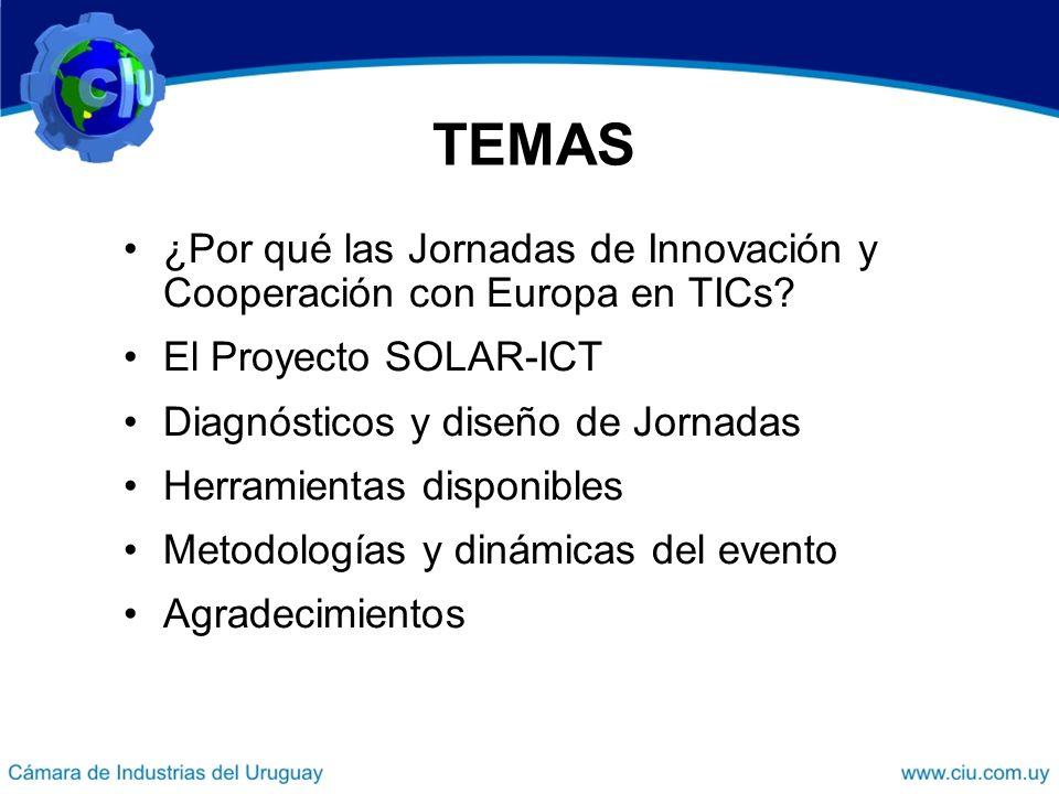 TEMAS ¿Por qué las Jornadas de Innovación y Cooperación con Europa en TICs.
