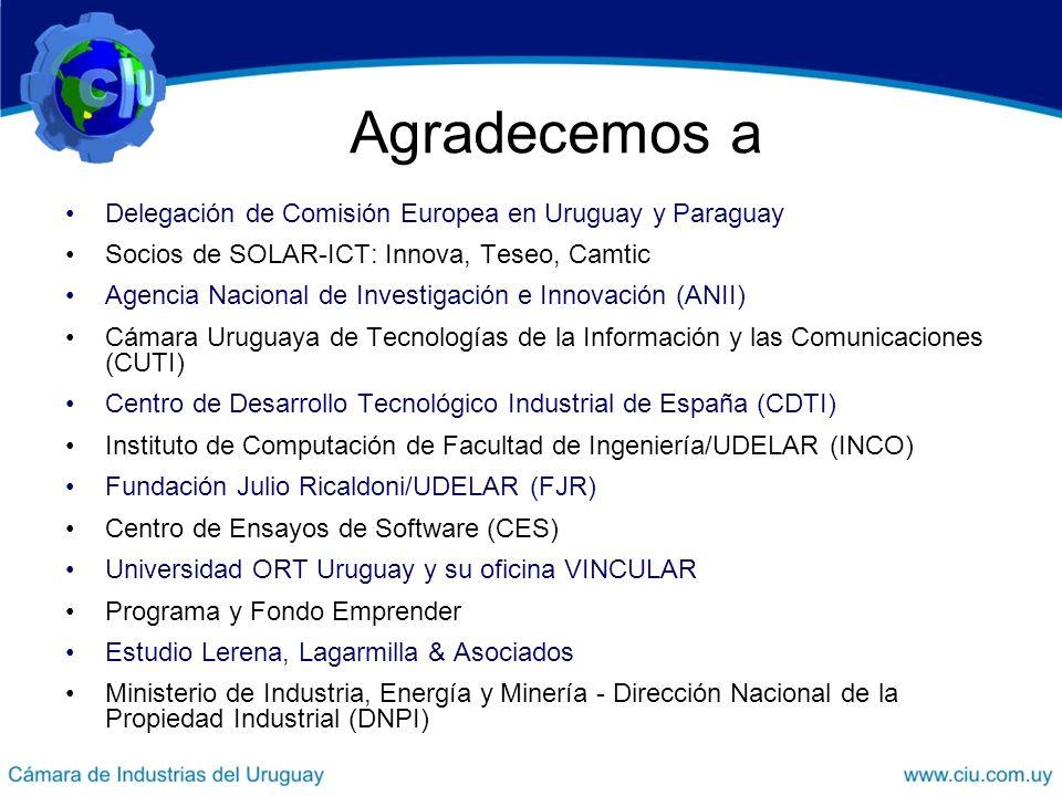 Agradecemos a Delegación de Comisión Europea en Uruguay y Paraguay Socios de SOLAR-ICT: Innova, Teseo, Camtic Agencia Nacional de Investigación e Innovación (ANII) Cámara Uruguaya de Tecnologías de la Información y las Comunicaciones (CUTI) Centro de Desarrollo Tecnológico Industrial de España (CDTI) Instituto de Computación de Facultad de Ingeniería/UDELAR (INCO) Fundación Julio Ricaldoni/UDELAR (FJR) Centro de Ensayos de Software (CES) Universidad ORT Uruguay y su oficina VINCULAR Programa y Fondo Emprender Estudio Lerena, Lagarmilla & Asociados Ministerio de Industria, Energía y Minería - Dirección Nacional de la Propiedad Industrial (DNPI)