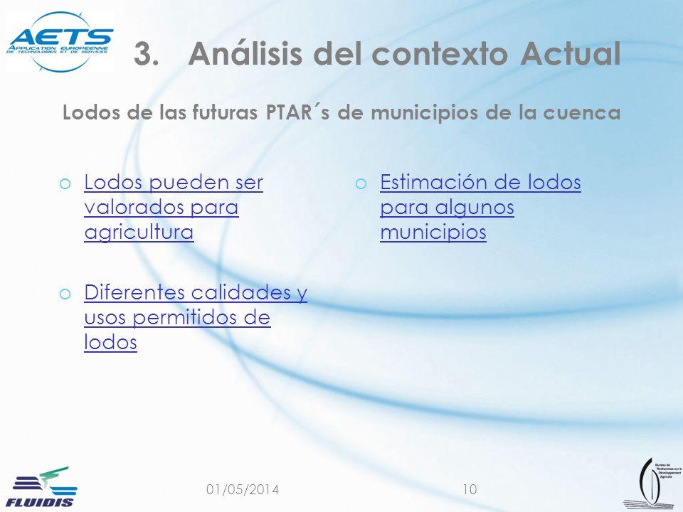 01/05/201410 Lodos de las futuras PTAR´s de municipios de la cuenca oLodos pueden ser valorados para agriculturaLodos pueden ser valorados para agricu